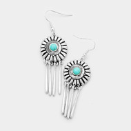 "resell for 18.00 or more • Color : Turquoise, Worn Silver  • Size : 0.7"" X 2.5"" • Fish Hook Back • Material : Lead and nickel compliant • Antique Round Turquoise Metal Bar Dangle Earrings Style #DCTE121217g"