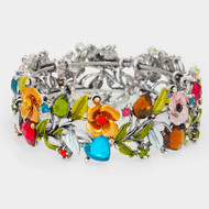 "resell for 27.00 or more • Color : Multi, Antique Silver • Theme : Flower & Leaf  • Size : 1"" H • Cuff • Glass crystal & metal vine open bracelet Style #BCCB121217g"