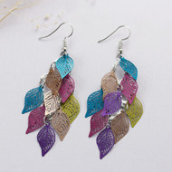"resell for 12.00 or more Filigree Stamping Earrings Leaf Hollow Multicolor Enamel 81mm(3 2/8"") Style #LLCMCLE121317g"