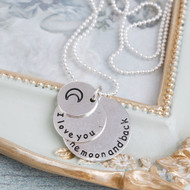 "resell for 9.00 or more Antique Silver & Silver Plated Crescent Moon Double Horn Round Message "" I Love You To The Moon And Back "" 50cm(19 5/8"") long Style #ILYMBN121417g"