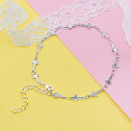 "resell for 9.00 or more 304 Stainless Steel Anklet Silver Tone Cross 21.5cm(8 4/8"") long Style #SCA121417g"