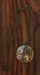 Resell for 15.00 or more Antiqued brass steampunk celestial pendant 20 inch brass chain Style #ABSCN121517g
