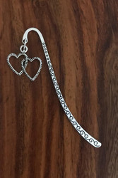 Resell for 9.00 or more Pewter double heart  Bookmark Style #DHBM121517g