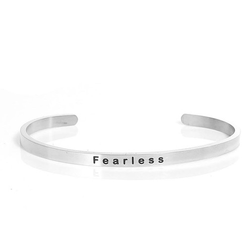 """resell for 15.00 or more 304 Stainless Steel Positive Quotes Energy Open Cuff Bangles Bracelets Silver Tone Message """" Fearless """" 16.7cm(6 5/8"""") long Style #FCB122917g"""