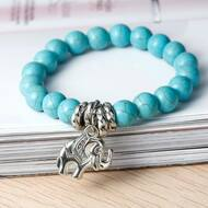 resell for 12.00 or more Turquoise Magnesite Boho Chic Elastic Bracelet Silver Tone Round Stone Pewter Elephant 23cm Style #TMESB122917g