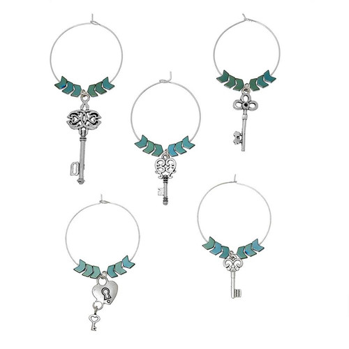 "resell for 12.00 or more Zinc Based Alloy Wine Glass Charms Mixed Keys Antique Silver  Arrow Head Hematite Beads 40mm(1 5/8"") x 35mm(1 3/8""), 1 Set(5 PCs/Set) Style #KHWCH122917g"