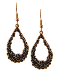 "resell for 18.00 or more Copper Tone / Lead&nickel Compliant / Metal / Fish Hook / Dangle / Filigree / Teardrop / Earring Set  •   WIDTH X LENGTH : 3/4"" X 2""  •   COPPER Style #CIFE010218g"
