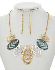 "resell for 45.00 or more Worn Gold Tone & Multi Tone / Lead&nickel Compliant / Metal / Fish Hook (earrings) / Graduating / Necklace & Earring Set  •   LENGTH : 17"" + EXT •   EARRING : 1/8"" X 2 1/4"" •   DROP : 2""  •   MULTI TONE Style #MTNS010218g"