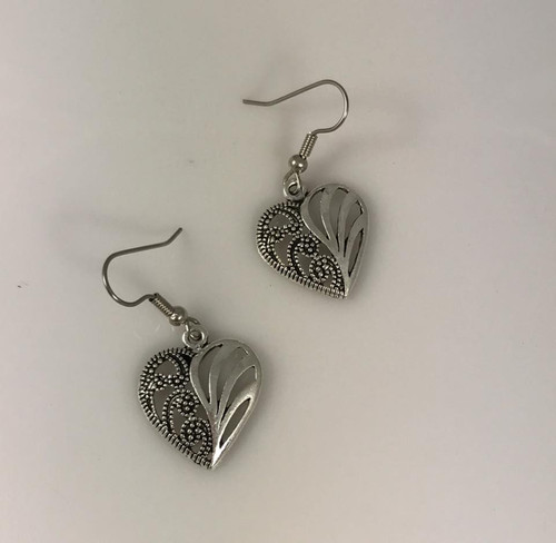 Resell for 10.00 or more Pewter heart Surgical steel ear wires style #OHE010318g