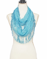 """BE SURE TO PUT """"SCARF"""" IN THE SEARCH....WE HAVE DOZENS TO CHOOSE FROM STARTING AT 6.00 AND EACH GIVES BACK! **This purchase will also donate 1 scarf with earrings to a cancer patient**  resell for 27.00 or more Lt.blue / 100% Polyester / Lace Infinity Scarf / 2017 S/s  •   11"""" X 63""""   •   100% COTTON   •   BLUE Style #LBIFS010318g"""