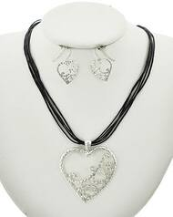 """resell for 36.00 or more Silver Tone / Black Cord / Lead&nickel Compliant / Metal / Fish Hook (earrings) / Multi Strand / Valentine's Day / Filigree Heart / Pendant / Necklace & Earring Set  •   LENGTH : 17 1/4"""" + EXT •   PENDANT : 1 7/8"""" X 2 1/8"""" •   EARRING : 3/4"""" X 1 1/8""""  •   SILVER/BLACK Style #IHCNS010318g"""