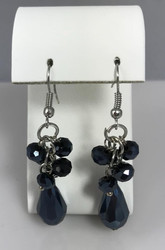 Resell for 18.00 or more 2 inch long Surgical steel ear wires  Black aurora ab crystal Style #BABCDE010418g
