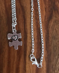 Resell for 12.00 or more Autism awareness puzzle piece Pewter 20 inch silver tone chain Style #AAPPN010518g