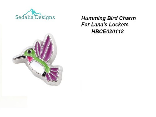 Enamel and pewter hummingbird charm  approx 5 mm  Lana's Lockets