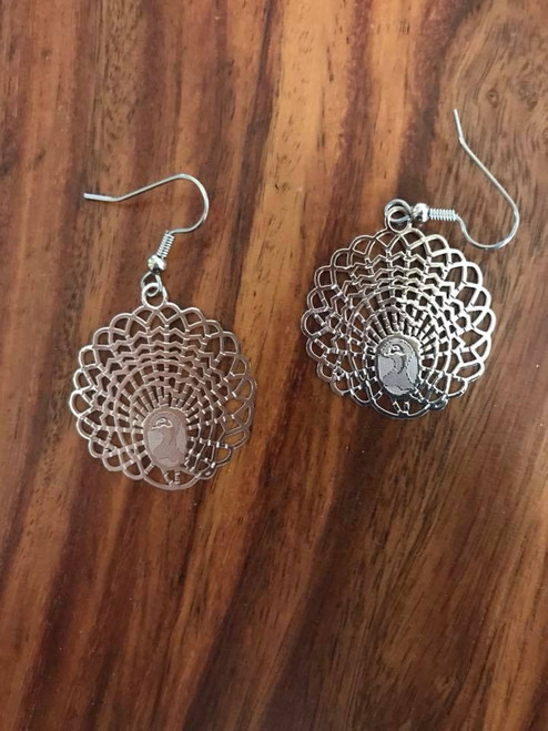 Resell for 10.00 or more Laser lace peacock Light weight  29.5x 29.5 mm Surgical steel ear wires Style #LLPE011118g