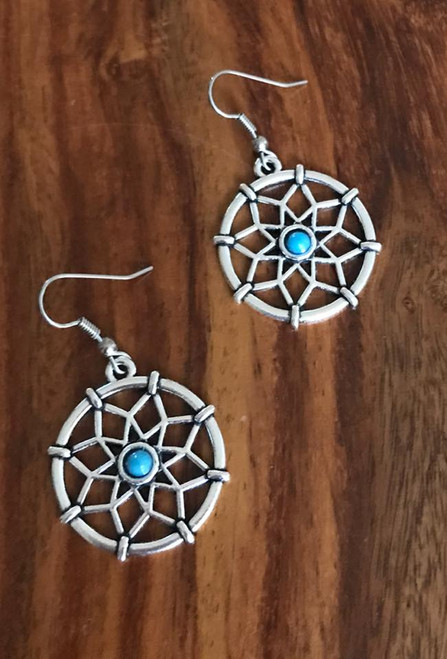 Resell for 10.00 or more Pewter dream catcher  Blue resin center 1 1/4 inch round Surgical steel ear wires Style #DCE011118g