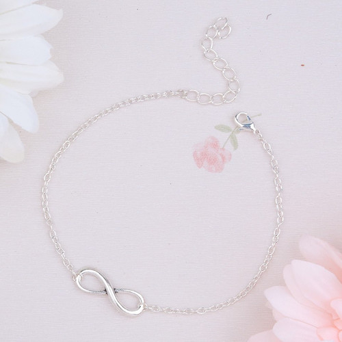 "resell for 9.00 or more New Fashion Anklet Infinity Symbol Connector Link Cable Chain Silver Plated 21cm(8 2/8"") long Style #IAB011118g"