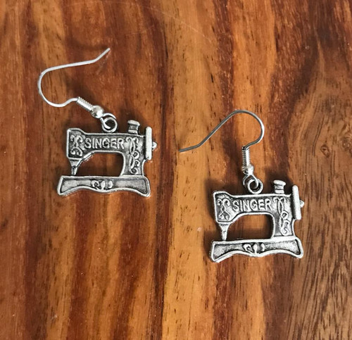 Resell for 6.00 or more Sewing machine charm pewter Surgical steel ear wires Style #SSME011118g