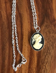 Resell for 15.00 or more Acrylic cameo  20 inch silver tone chain Style #FCN011518g