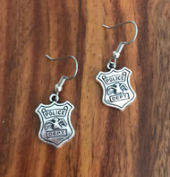 Resell for 6.00 or more Pewter police badge Surgical steel ear wires Style #PBE011818g