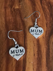 Resell for 5.00 or more Pewter Mum heart charm Earrings Surgical steel ear wires Style #MHE011818g