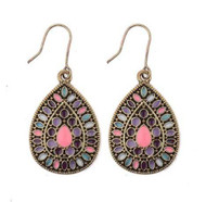 resell for 12.00 or more earrings antiqued bronze with enamel. pink, purples, teals. 1.5 inch x 3/4 inch  steel earwires Style #PPBCE011818g
