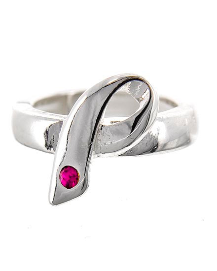 """resell for 21.00 or more Silver Tone Metal / Fuchsia Rhinestone / Lead&nickel Compliant / Pink Ribbon / Stretch Ring  •   SIZE FREE : STRETCH •   WIDTH : 3/4""""L  •   SILVER/PINK Style #ARR012318g"""