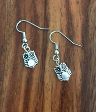 Resell for 5.00 or more Pewter owl bead Surgical steel ear wires Style #OBE012618g