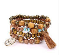 resell for 21.00 or more  fit 7 to 8 inch wrist Bohemian/ wood/ multi strand/ stretch. brown/ goldtone/ tassel/ brown/ tree of life Style #WGSBS012918g