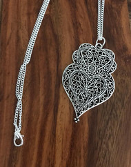 Resell for 12.00 or more Pewter boho chic heart pendant 2 3/8 x 1 4/8 24 inch silver tone curb chain Style #BCOHP020118g