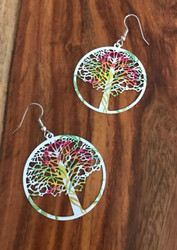 Resell for 10.00 or more Laser lace enameled tree of life 1 6/8 inch  White pink green yellow orange Surgical steel ear wires Style #BCTLE020218g