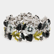 "resell for 27.00 or more Burnished Silver Tone / Black Acrylic / Grey & Green Metal / Lead&nickel Compliant / Flower Cuff Bracelet  •   SIZE FREE : CUFF •   DIAMETER : 2 1/4 •   WIDTH : 1""  •   ANTIQUE SILVER/BLACK Style #OBCCB020518g"