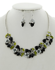 """resell for 50.00 or more Antique Silver Tone / Black Acrylic & Epoxy / Lead&nickel Compliant / Metal / Fish Hook (earrings) / Valentine's Day / Flower W/ Heart / Statement / Necklace & Earring Set  •   LENGTH : 17"""" + EXT •   EARRING : 3/4"""" X 1 1/2"""" •   DROP : 1""""  •   ANTIQUE SILVER/BLACK Style #OHBCNS020518g"""