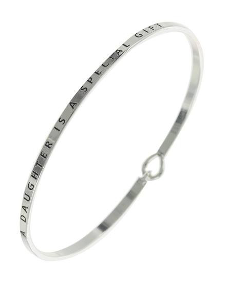 """resell for 27.00 or more A Daughter Is A Special Gift / Silver Plated & Antique Silver Tone / Lead, Nickel & Cadmium Safe Metal / Hook Cuff Closure / 3 MM Message Brass Bangle / Bracelet Style #ADGBB020618g  •   DIAMETER : 2 1/2"""" •   WIDTH : 1/8""""  •   A.SILVER"""