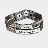 "resell for 45.00 or more • Color : Gray, Silver Burnished • Theme : Arrow, Heart, Message  • Size : 0.7"" H • Total Size : 7"" + 0.5"" L • Snap Button Closure • Material : Lead and nickel compliant • ""Follow Your Heart"" Double Strand Snap Button Bracelet #Style #GLFYHB020618g"