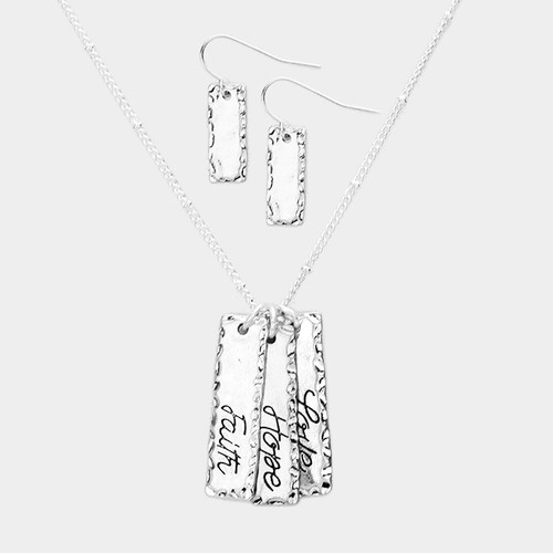 "resell for 30.00 or more • Color : Worn Silver • Theme : Love, Message  • Necklace Size : 18"" + 3"" L • Decor Size : 1.25"" L • Earring Size : 1"" L • Material : Lead and nickel compliant • ""Faith Hope Love"" Triple Metal Bar Pendants Necklace Style #SFHLNS020618g"