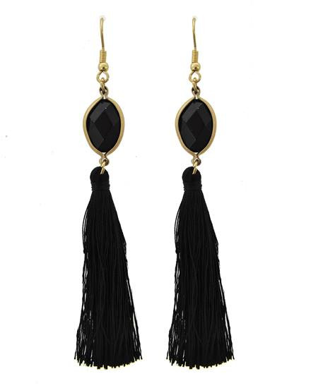 "resell for 27.00 or more Gold Tone / Black Semi Precious Stone & Thread / Lead Compliant / Fish Hook / Dangle / Tassel / Earring Set  •   WIDTH X LENGTH : 1/2"" X 3 1/2""  •   BLACK Style #BTGTE021218g"