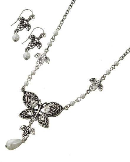 """resell for 36.00 or more Burnished Silver Tone / White Synthetic Pearl / Lead Compliant & Nickel Free / Metal / Fish Hook (earrings) / Butterfly / Pendant / Necklace & Earring Set  •   LENGTH : 15 1/4"""" + EXT •   PENDANT : 1 3/8"""" X 2"""" •   EARRING : 1/2"""" X 1 1/2""""  •   B.SILVER Style #DTPBNES021218g"""