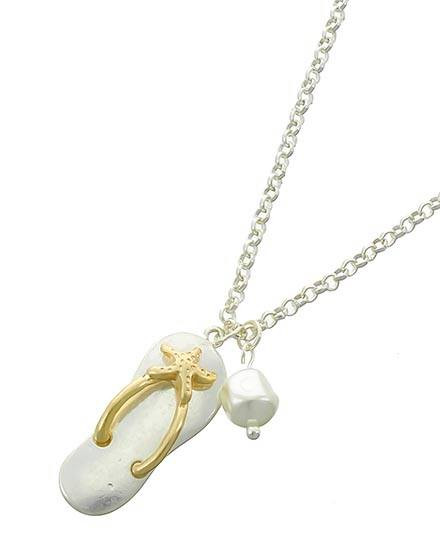 "resell for 27.00 or more Matte Silver & Matte Gold Tone / Cream Pearl Look Acrylic / Lead&nickel Compliant / Metal / Sea Life / Flip Flop W/starfish Pendant / Necklace  •   LENGTH : 18"" + EXT •   PENDANT : 5/8"" X 1 5/8""  •   M.SILVER/M.GOLD Style #SGPFN021318g"