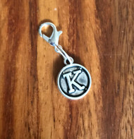 Resell for 6.00 or more Lobster clasp bauble  Aprox 12 mm  Pewter charm letter K Style #LKB021418g