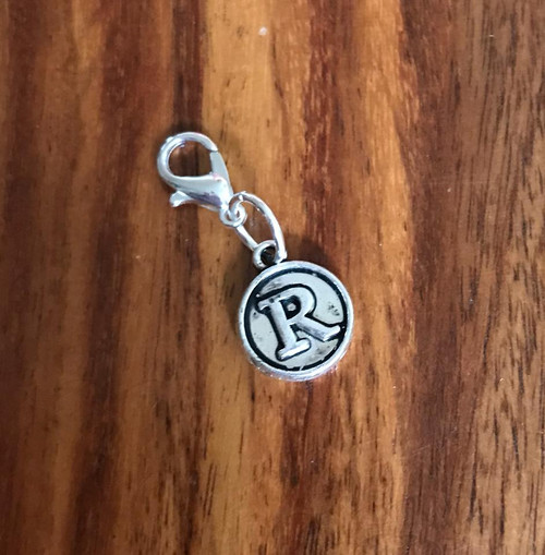Resell for 6.00 or more Lobster clasp bauble  Aprox 12 mm  Pewter charm letter R Style #LRB021418g