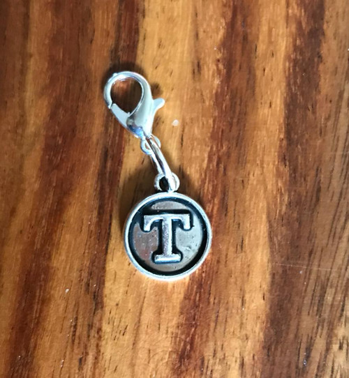 Resell for 6.00 or more Lobster clasp bauble  Aprox 12 mm  Pewter charm letter T Style #LTB021418g