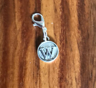 Resell for 6.00 or more Lobster clasp bauble  Aprox 12 mm  Pewter charm letter W Style #LWB021418g