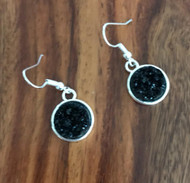Resell for 9.00 or more Black drusy resin Pewter, surgical steel earwires Style #BDRE021518g