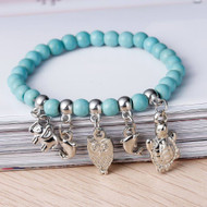 "resell for 12.00 or more Howlite dyed Turquoise Boho Chic Elastic Bracelets Silver Tone Malachite Green Halloween Owl Elephant Turtle Dolphin Animal 19.2cm(7 1/2"") long Style #THSAB021518g"
