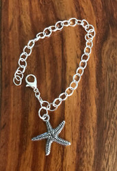 Resell for 9.00 or more 7.5 inch silver tone bracelet Pewter starfish Style #PDB021718g