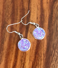 Resell for 6.00 or more Purple drusy resin Surgical steel ear wires Style #PDRE021918g