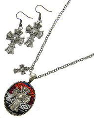 "resell for 30.00 or more Burnished Silver Tone / Multi Color Fabric / Lead Compliant / Metal / Fish Hook (earrings) / Western Theme / Cross Pendant / Necklace & Earring Set /   •   LENGTH : 17"" + EXT •   PENDANT : 1 1/4"" X 2"" •   EARRING : 7/8"" X 1 7/8""  •   SILVER/MULTI Style #SWCNES022018g"