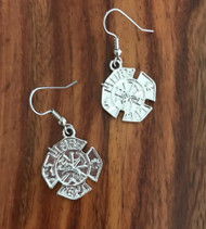 Resell for 6.00 or more Pewter fire dept badge Surgical steel ear wires Style #FDE022218g fireman