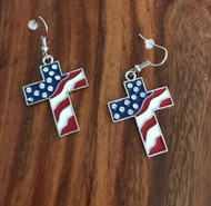 Resell for 15.00 or more Pewter enameled Cross American Flag Surgical steel earrings Aprox 1 inch wide by 1 1/4 inch drop. Style #AGCE022218g